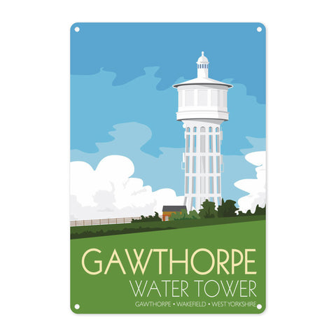 The Gawthorpe Water Tower, Wakefield, Yorkshire Metal Sign