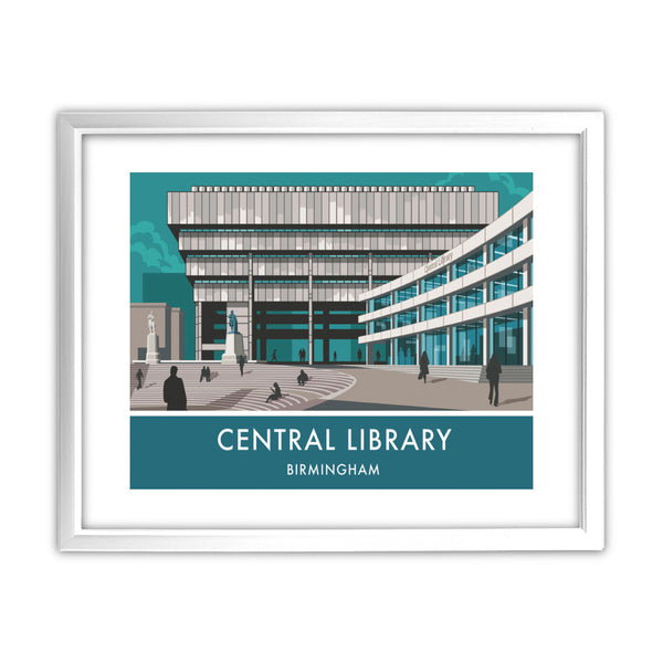 Central Library, Birmingham, West Midlands 11x14 Framed Print (White)