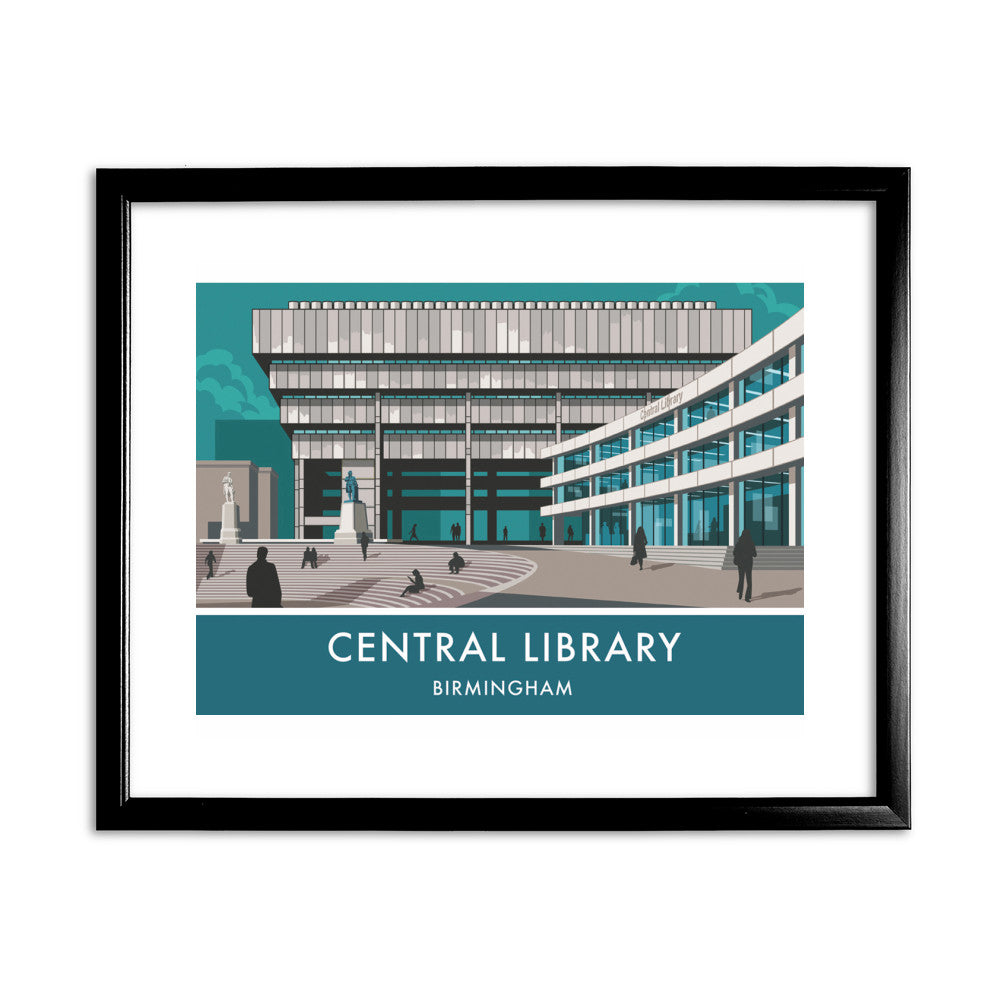 Central Library, Birmingham, West Midlands 11x14 Framed Print (Black)