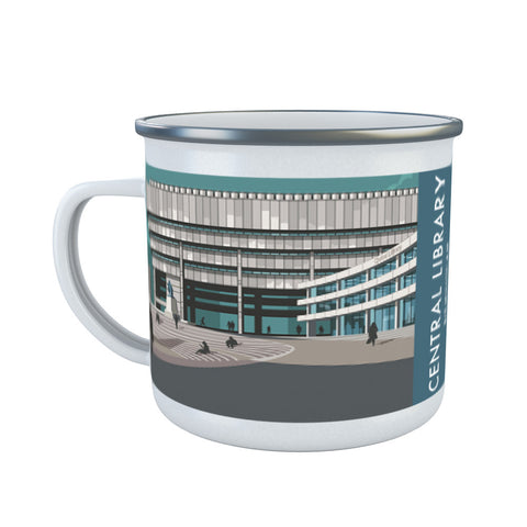 Central Library, Birmingham, West Midlands Enamel Mug