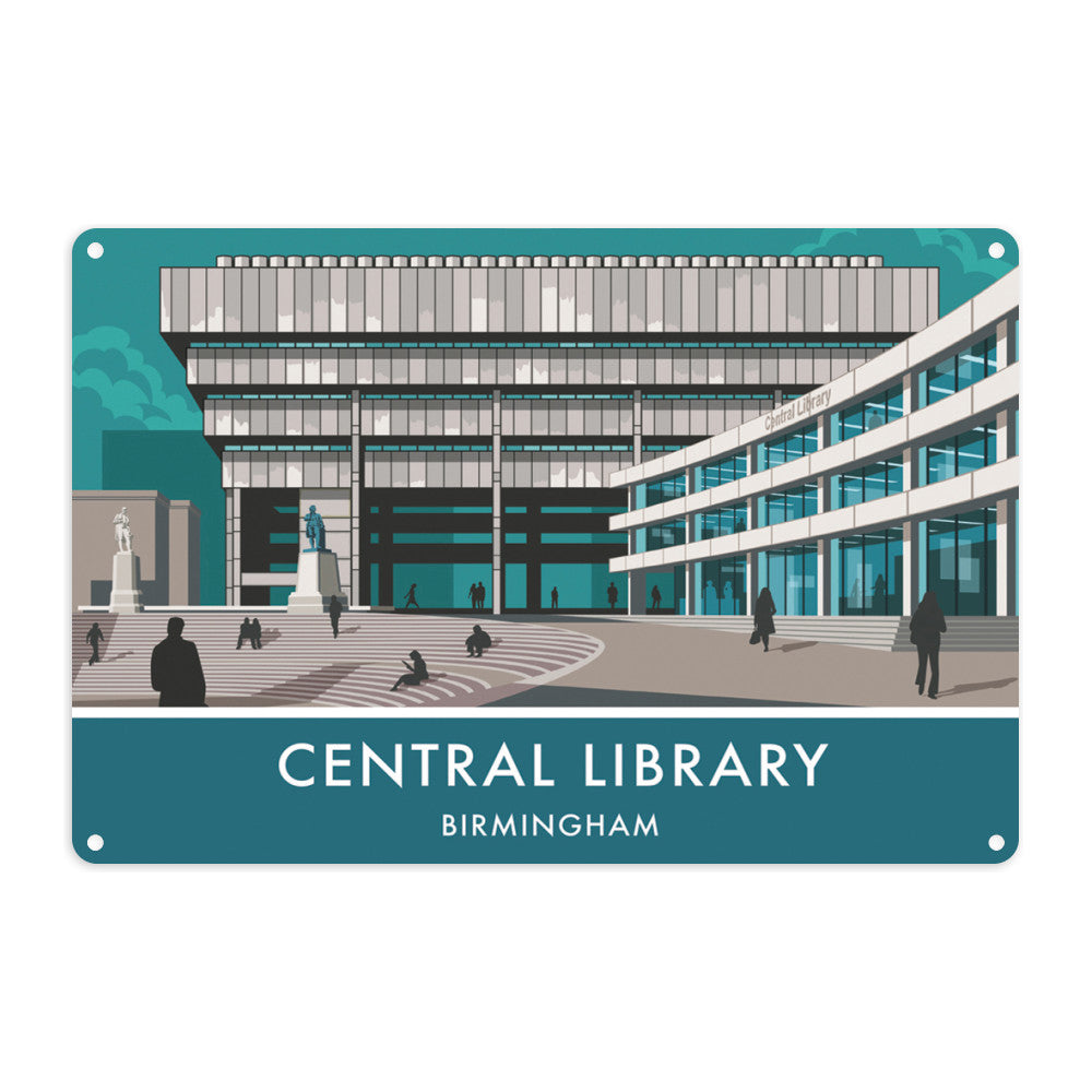 Central Library, Birmingham, West Midlands Metal Sign