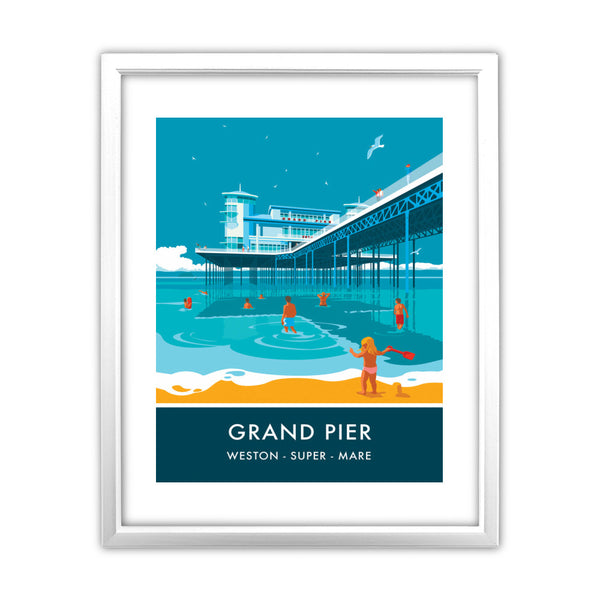 Grand Pier, Weston Super Mare, Somerset 11x14 Framed Print (White)
