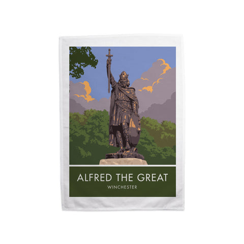 Alfred the Great, Winchester, Hampshire Tea Towel