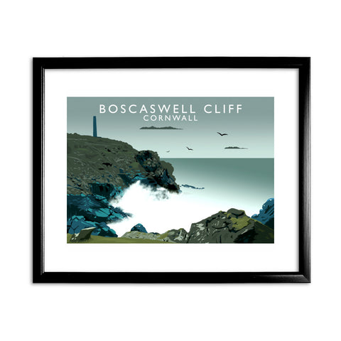 Boascaswell Cliff, Cornwall 11x14 Framed Print (Black)