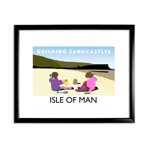 Building Sandcastles, Isle of Man 11x14 Framed Print (Black)