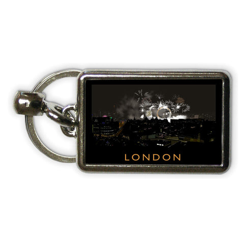 London at night Metal Keyring