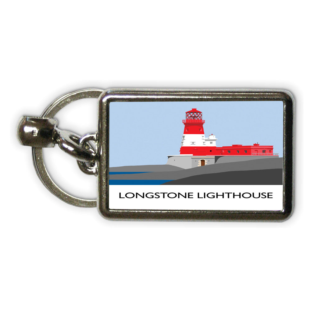 Longstone Lighthouse, Northumberland Metal Keyring