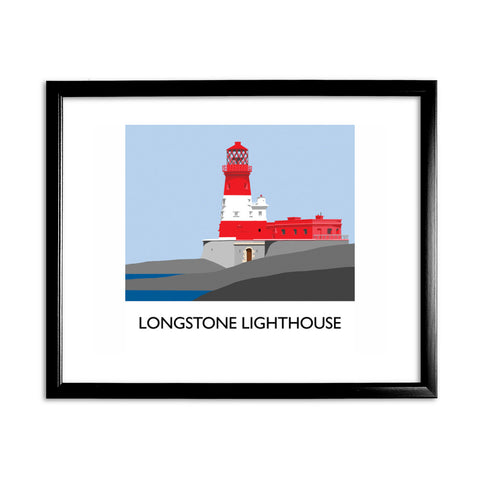 Longstone Lighthouse, Northumberland 11x14 Framed Print (Black)