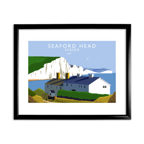 Seaford Head, Sussex 11x14 Framed Print (Black)