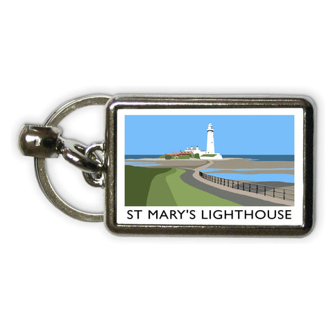 St Mary's Lighthouse, Whitley Bay Metal Keyring