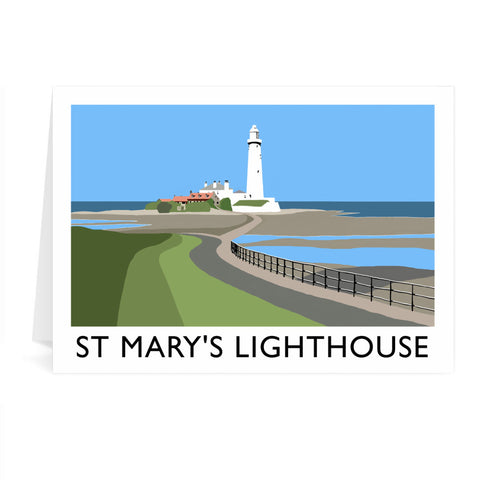 St Mary's Lighthouse, Whitley Bay Greeting Card 7x5