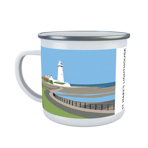 St Mary's Lighthouse, Whitley Bay Enamel Mug
