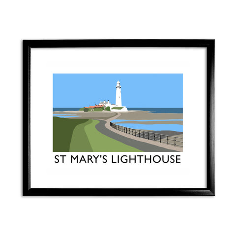 St Mary's Lighthouse, Whitley Bay 11x14 Framed Print (Black)