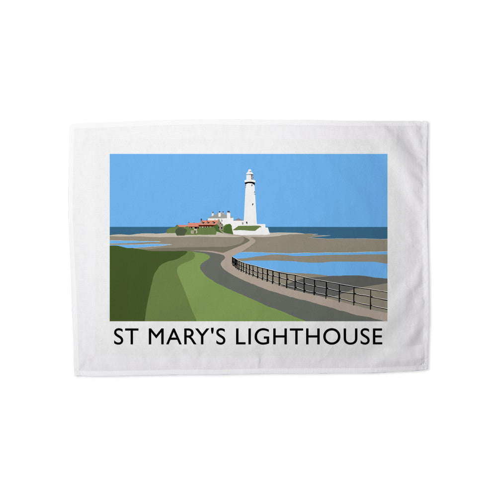 St Mary's Lighthouse, Whitley Bay Tea Towel