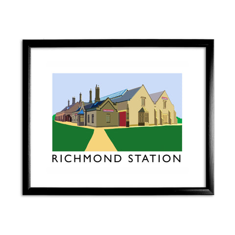 Richmond Station, Yorkshire 11x14 Framed Print (Black)