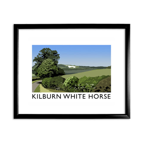 The Kilburn White Horse, Yorkshire 11x14 Framed Print (Black)