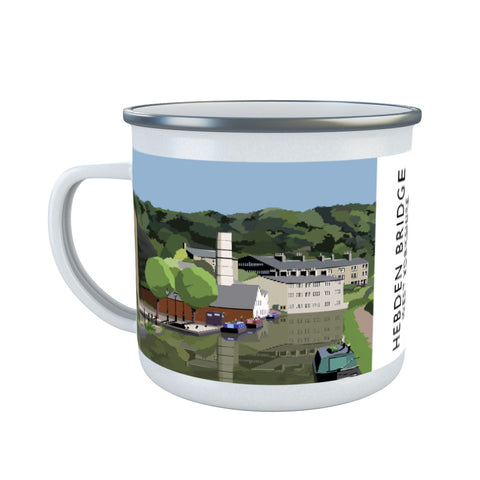 Hebden Bridge, West Yorkshire Enamel Mug