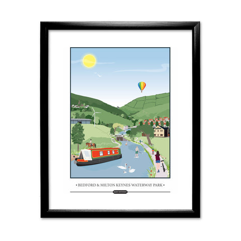 Bedford and Milton Keynes Waterway Park, 11x14 Framed Print (Black)