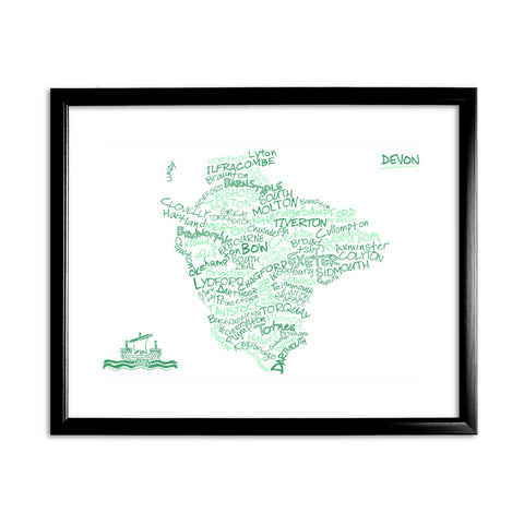 County Map of Devon, 11x14 Framed Print (Black)