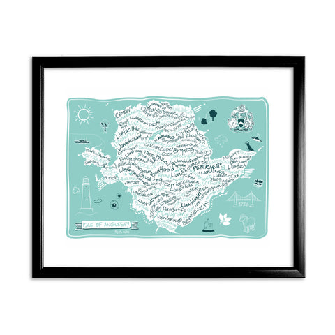 Map of The Isle of Anglesey, 11x14 Framed Print (Black)