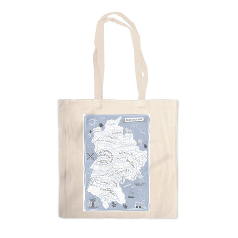County Map of Bedfordshire, Canvas Tote Bag