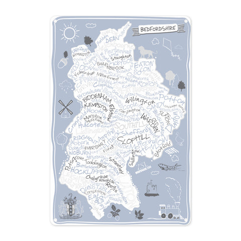 County Map of Bedfordshire, Metal Sign
