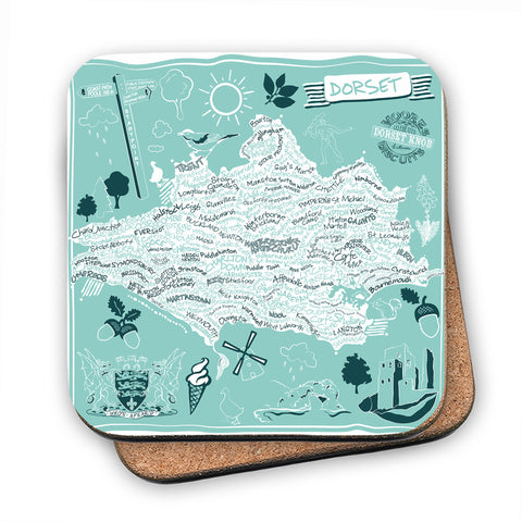 County Map of Dorset, MDF Coaster
