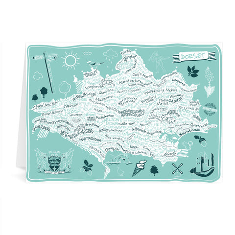 County Map of Dorset, Greeting Card 7x5