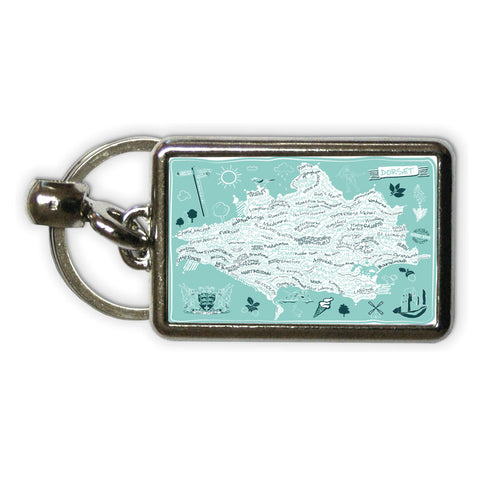 County Map of Dorset, Metal Keyring