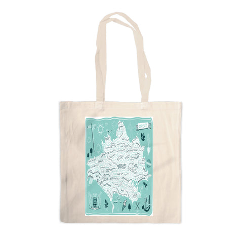 County Map of Dorset, Canvas Tote Bag