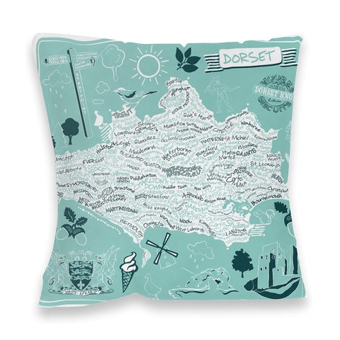 County Map of Dorset, Fibre Filled Cushion
