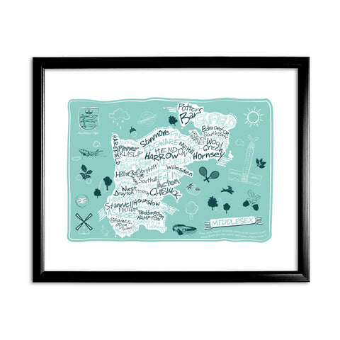 County Map of Middlesex, 11x14 Framed Print (Black)