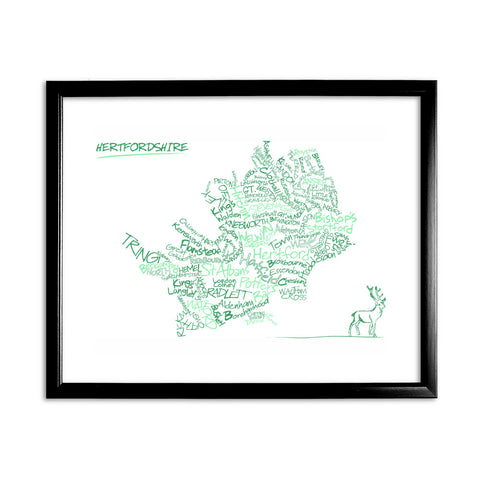 County Map of Hertfordshire, 11x14 Framed Print (Black)