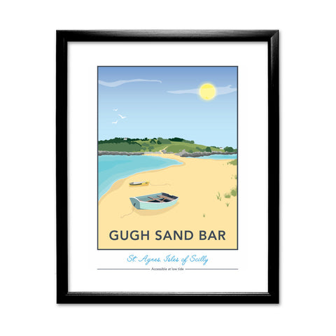 Gugh Sand Bar, St Agnes, Isles of Scilly 11x14 Framed Print (Black)