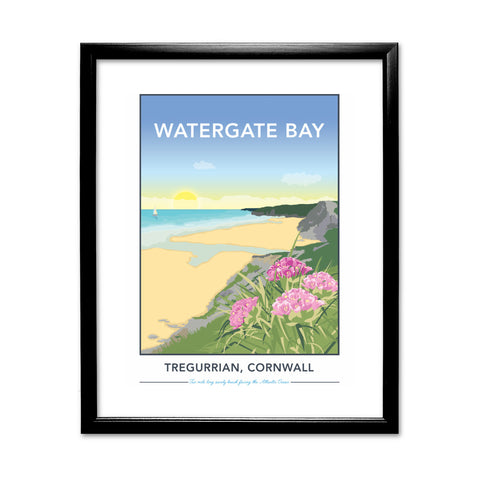 Watergate Bay, Tregurrian, Cornwall 11x14 Framed Print (Black)