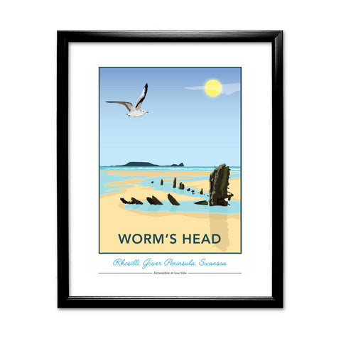 Worm's Head, Rhosilli, Gower Peninsula, Swansea 11x14 Framed Print (Black)