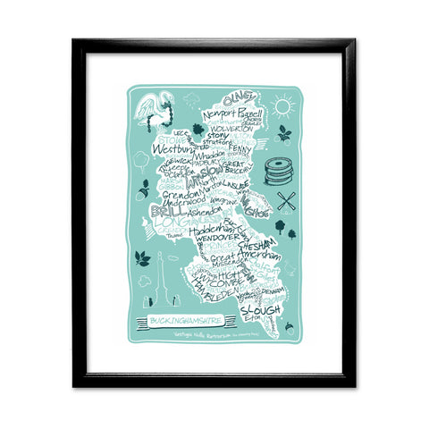 County Map of Buckinghamshire, 11x14 Framed Print (Black)
