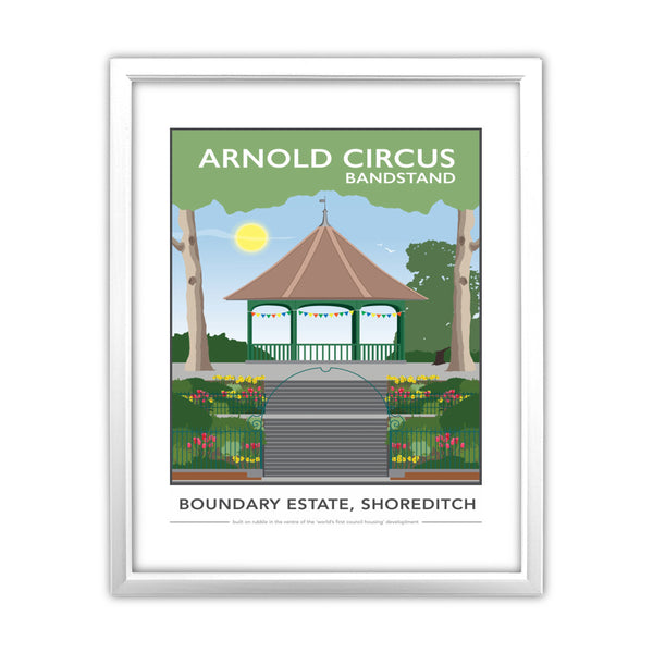 Arnold Circus Bandstand, Shoreditch, London 11x14 Framed Print (White)