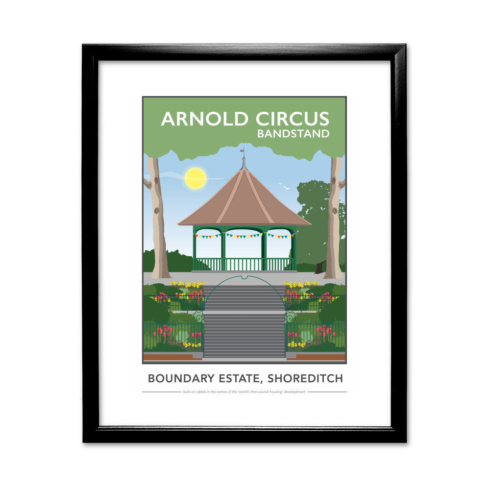 Arnold Circus Bandstand, Shoreditch, London 11x14 Framed Print (Black)