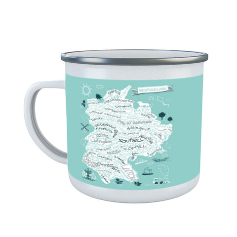 County Map of Bedfordshire, Enamel Mug