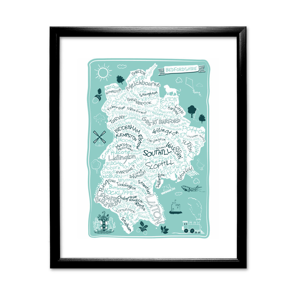 County Map of Bedfordshire, 11x14 Framed Print (Black)