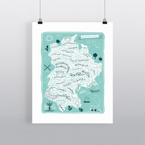 County Map of Bedfordshire, 90x120cm Fine Art Print