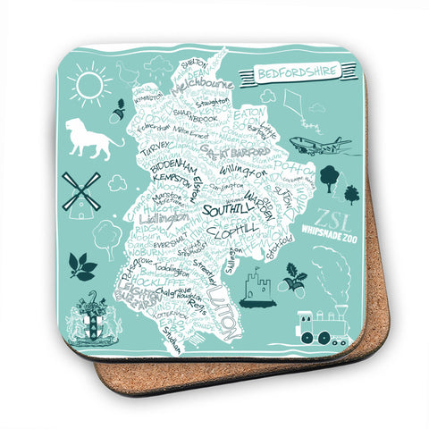 County Map of Bedfordshire, MDF Coaster