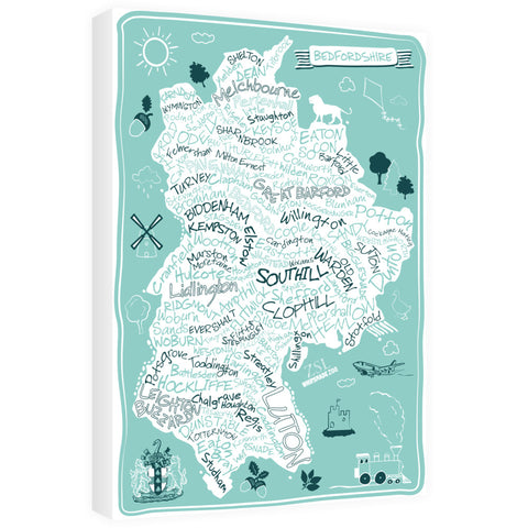 County Map of Bedfordshire, 60cm x 80cm Canvas