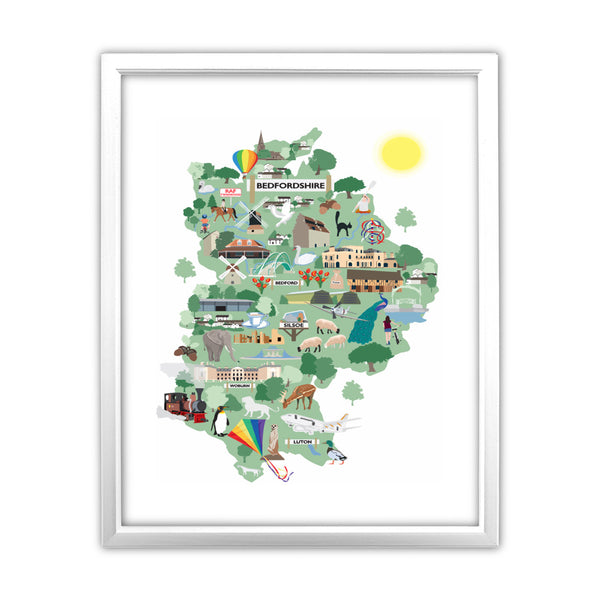 County Map of Bedfordshire, 11x14 Framed Print (White)