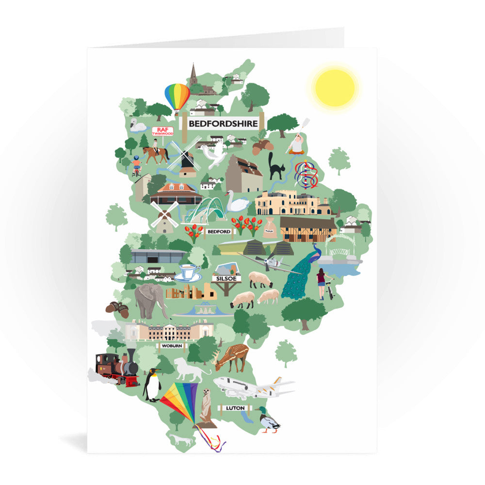 County Map of Bedfordshire, Greeting Card 7x5