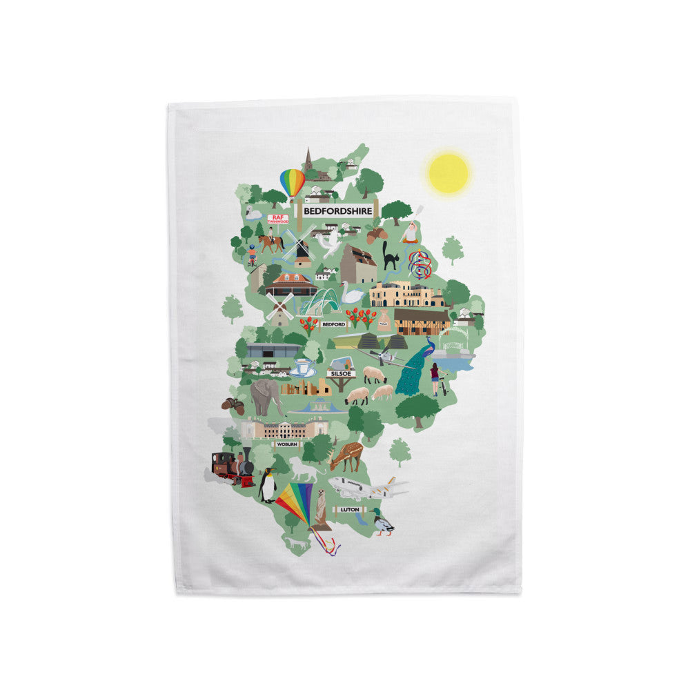 County Map of Bedfordshire, Tea Towel