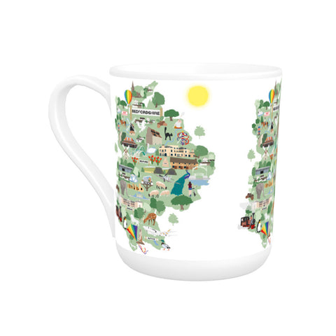 County Map of Bedfordshire, Bone China Mug