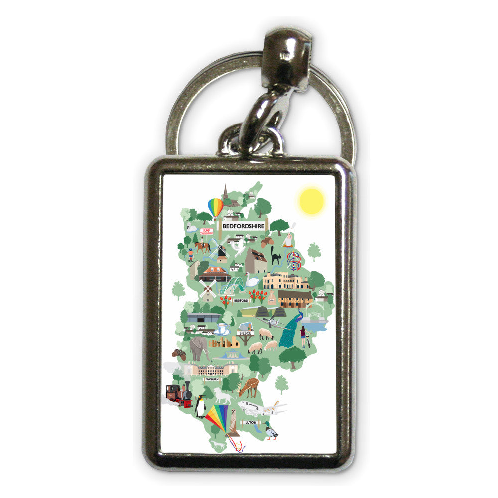 County Map of Bedfordshire, Metal Keyring