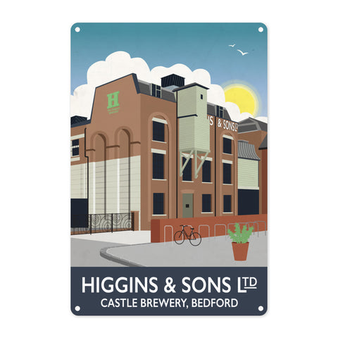 Higgins and Sons, Bedford Metal Sign